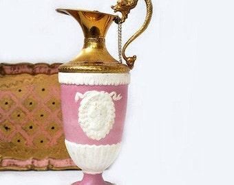 Vintage Italian Wine Decanter,Pink Empire Style Jug,Porcelain Bisque Carafe,Pink Liquor bottle,Vintage barware.