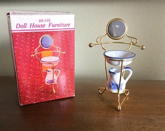 Brass Miniature Wash Basin Stand, Dollhouse Furniture, Pitcher and Basin, Original Box