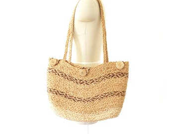 70s vintage woven straw hippie tote bag// woven market bag// vintage straw bag