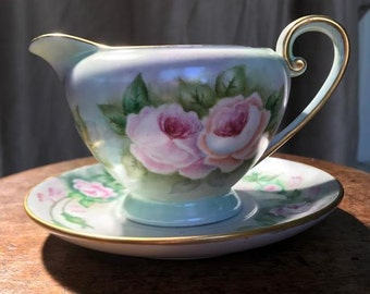 Vintage Hand-Painted Rose Motif Cream Pitcher with Saucer