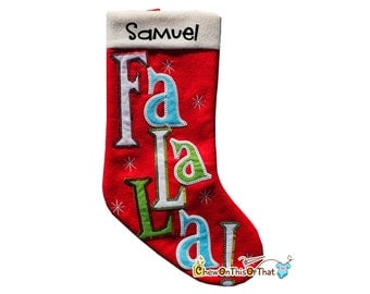 Red Fa La La Sequence Christmas Stocking Personalized with Name Family, Males, Teens, Girls, Boys, Kids, Embroidery, Applique, Snowflakes