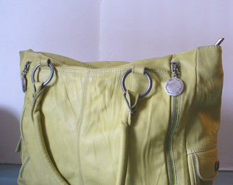 Innue Made in Italy Huge  Chartreuse Leather Tote Bag