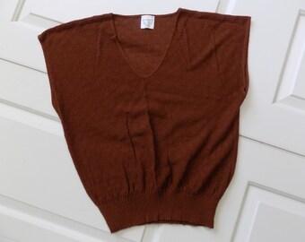 Vintage 70s // 80s BroWn Knit Sweater Vest // NeRd INdiE GeeK \\ MeDiuM   SmaLl // BoHo FoLk