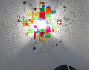 Bright Officelamp, Childrenlamp Barcelona, One off, Recycle Glass Mosaic, Red, Green, Yellow, Blue