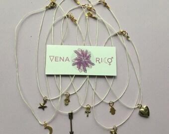 Tiny Charm Choker - Hemp, White, Gold, Charms, Layer Necklace, Simple, Minimalist