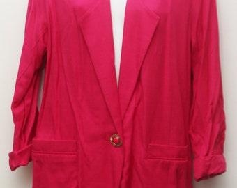 """80's Vintage """"BONWORTH"""" Dark Pink Boyfriend Blazer Sz: SMALL"""