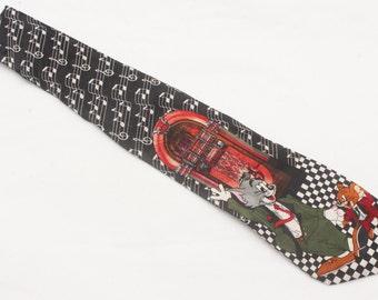 "Rare 1993 Vintage Cartoon Corner ""TOM and JERRY"" Patterned Multicolor 100% Silk Tie"