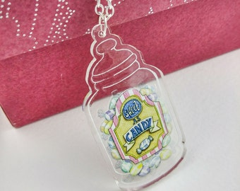 Sweetie Jar Necklace Sweet As Candy Clear Acrylic Pendant Silver or Antique Gold Chain