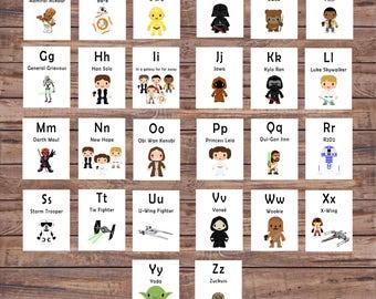 Star Wars ABC Printable Flash Cards - Digital Alphabet - Printable Star Wars Cards - Preschool/Kindergarten Learning - Star Wars Flash Cards
