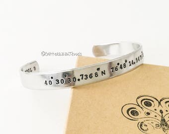 Custom Coordinates Silver Cuff Bracelet Stamping Outside Inside Special Place Travel GPS Memory Anniversary Birthday Friends Mom Gift Couple