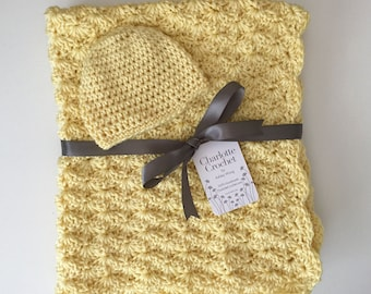 Crochet Baby Blanket with Matching Hat - Baby Sunshine (Yellow)
