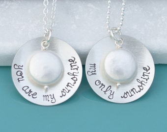 Set of 2 Mother Daughter Jewelry Necklace - 925 Sterling Silver Personalized Necklace Set for Mom & Daughter - Your Custom Personalized Text