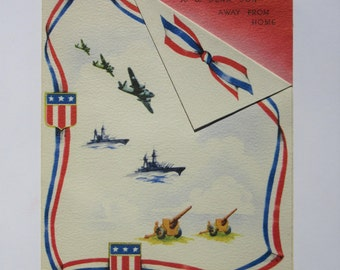 Vintage Unused Military Card To a Dear Son Away From Home Miss You Patriotic Flags Americana Airplanes, Battleships, and Cannons Made in USA