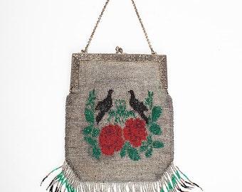 Darling Vintage 1910s/1920s LOVEBIRDS Beaded Evening Bag // Flapper // Gatsby
