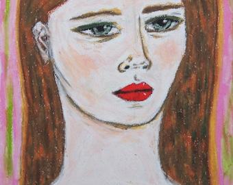 Portrait in a Mint Top - Original Pastel Portrait Drawing Illustration