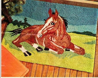 "Vintage 34"" x 48"" Aunt Lydia's Punch Needle Rug Foundation Canvas ""Pastoral"" for Horse Theme Rug or Wall Hanging Equestion Decor Rug Making"