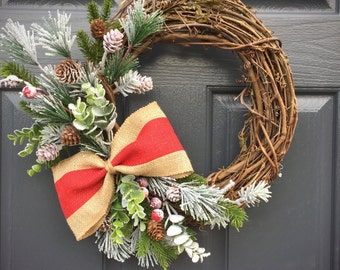 Small Christmas Wreath, Winter Wreaths, Small Door Wreath, Holiday Decor, Winter Gifts, Gift for Her, Winter Decorating, Burlap Wreath