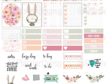 Hello Bunny - printable easter themed planner stickers