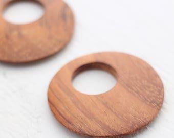 Vintage Bayong Wood Pendants - Brown - 45mm - 2 Pendant