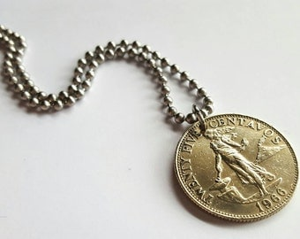 1966 Filipino Coin Necklace  - Stainless Steel Ball Chain or Key-chain - Phillipines