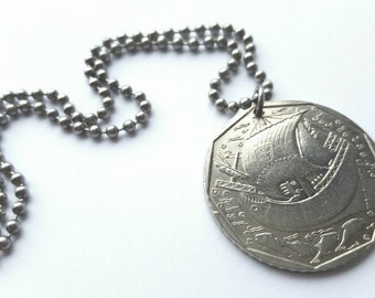 1989 Portuguese Coin Necklace  - Stainless Steel Ball Chain or Key-chain - ship - fish - ocean