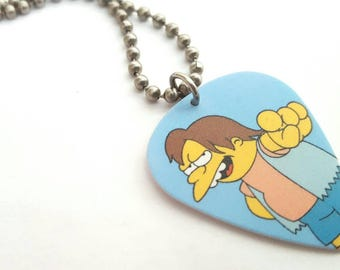 Nelson Guitar Pick Necklace with Stainless Steel Ball Chain - the Simpsons - animation