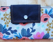 RIFLE PAPER COMPANY / Women's vegan fabric wallet / clutch / pocketbook - Rosa Natural Multi Floral
