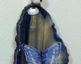 Butterflies Agate Pendant