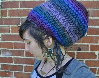 Slouchy Spiral Hat with Drawstring // Wool Blend Adjustable Crochet Dreadlock Tam
