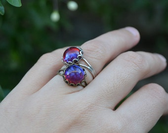 Antique silver mexican opal ring, vintage style bronze opal jewelry, dragons breath jewelry, mexican opal jewelry