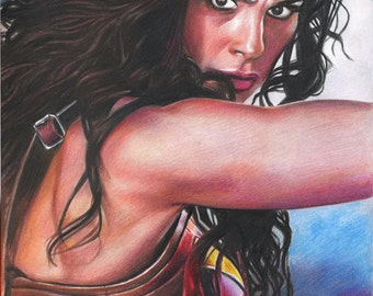 Print of Colored Pencil Drawing of Gal Gadot (actress from Wonder Woman / Batman V Superman / Justice League) 8.5 x 11