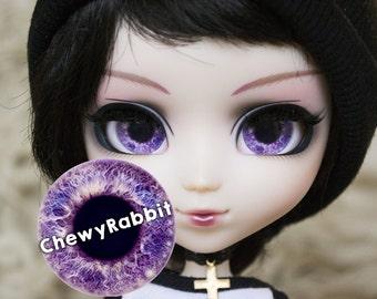 12, 13 & 14mm Glass Realistic Purple Blue Eyechips for Pullip Blythe Taeyang Dal Isul - handmade Eye Chips