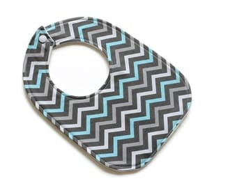 Small Baby Bib || Mini Chevron Night || Fleece Backing