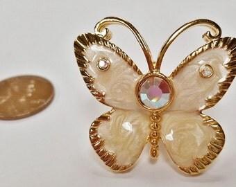 1 Beige Sparkle Enamel Butterfly Crystal Rhinestone Gold 32x36mm. Screw Back Post Finding E251