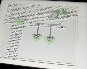 Custom Song Lyric Art, Anniversary Gift, Wedding Gift, Bride Gift, Paper Gift, Shower Gift - Love Song 3D Paper Lyric Tree - Framed Artwork