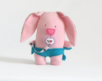 Pink Bunny Plushy, Cute Baby Gift, Plush Toy, Baby Doll Pacifier, Fabric Plushies, Stuffed Bunny, Toddler Cute Gift, Baby Girl shower gift