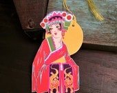 1920s Art Deco Bridge Tally Card, Pretty Flapper as Cleopatra or Asian Goddess, Egypt Egyptian, Die Cut, UNUSED, Vintage Place Card, Antique