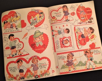 Fab Vintage 1943 UNCUT Valentines Day Card Booklet Whitman 1940s UNUSED Antique Envelopes Childrens Valentines