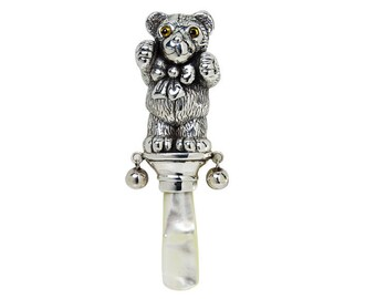 Collectable Antique Victorian style Teddy Bear baby rattle 925 sterling silver with mother of pearl handle christening gift