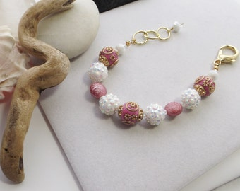 Chunky Pink and White Adjustable Beaded Bracelet with Clay, Acrylic, Glass Beads, Gold, Boho, Easter, Spring, Summer, Jesse James Beads