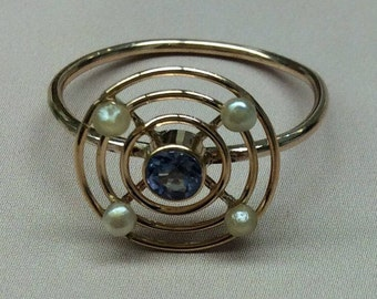 10k Yellow Gold Montana Sapphire Ring with Full Seed Pearls upcycled Stickpin