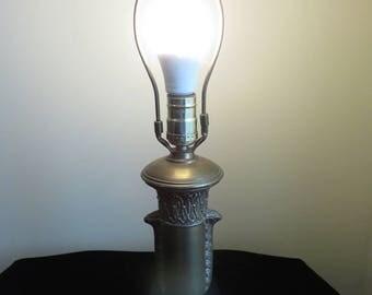 Lovely, Vintage Brass Table Lamp- Egyptian like Patterns- Incised Designs- Still Works