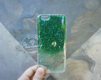 Two-Tone glitter resin case in light blue-green, 100% hand made.