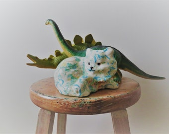 70s Floral Cat Decoupage Kitten Collectible Figurine