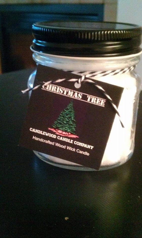 CHRISTMAS TREE - New Fire & Ice Christmas Tree Wood Wick Candle 9.6 oz