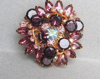 Spectacular! Vintage BEAU Jewels Amethyst Rhinestone Pin