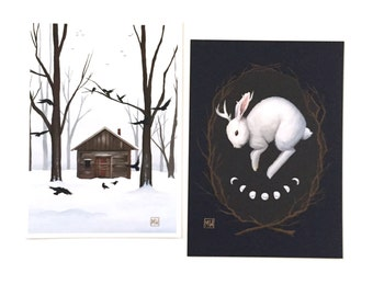 """Small print set #1, """"Witchcraft"""" witchy, forest, nature, dark gothic art, rustic, occult, gift set, rabbit jackalope witch house"""