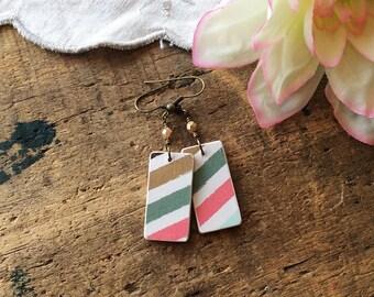 Chiyogami Paper Earrings - striped earrings pastel earrings geometric earrings arrow earrings