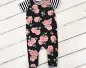 LIMITED QUANTITY -- Floral and Stripe Harem Romper