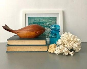 vintage carved wood whale Deborah D Bump 70s jewelry box figurine
